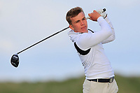 Robert Moran (Castle) on the 9th tee during Round 2 of The East of Ireland Amateur Open Championship in Co. Louth Golf Club, Baltray on Sunday 2nd June 2019.<br /> <br /> Picture:  Thos Caffrey / www.golffile.ie<br /> <br /> All photos usage must carry mandatory copyright credit (© Golffile   Thos Caffrey)