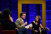 WASHINGTON, DC - JUNE 8: Brandon Dennison answers a question by Susan Goldberg during a Q&A panel after an advanced screening of 'From the Ashes' presented by National Geographic and Bloomberg Philanthropies at National Geographic Headquarters on June 8, 2017 in Washington, DC. (Photo by Don Baxter/National Geographic/PictureGroup)