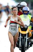 20 AUG 2005 - LAUSANNE, SWITZERLAND - Vanessa Fernandes (POR) on her way to victory in the European Elite Womens Triathlon Championships. (PHOTO (C) NIGEL FARROW)