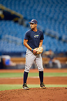 Shane McClanahan (8) gets ready to deliver a pitch during the Tampa Bay Rays Instructional League Intrasquad World Series game on October 3, 2018 at the Tropicana Field in St. Petersburg, Florida.  (Mike Janes/Four Seam Images)