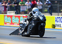 Sept. 24, 2011; Ennis, TX, USA: NHRA pro stock motorcycle rider Jerry Savoie during qualifying for the Fall Nationals at the Texas Motorplex. Mandatory Credit: Mark J. Rebilas-