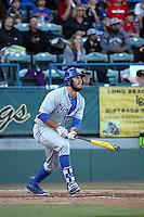 Austin Bush (44) of the UC Santa Barbara Gauchos bats against the Cal State Long Beach Dirtbags at Blair Field on April 1, 2016 in Long Beach, California. UC Santa Barbara defeated Cal State Long Beach, 4-3. (Larry Goren/Four Seam Images)