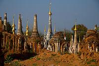 Inndein Pagodas on Inle lake, Shan State, Myanmar/Burma