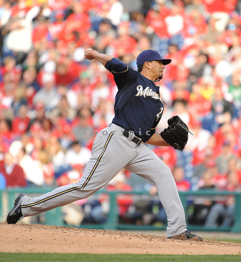 Milwaukee Brewers Kyle Lohse (26) during a game against the Philadelphia Phillies on April 8, 2014 at Citizens Bank Park in Philadelphia, PA. The Brewers beat the Phillies 10-4.