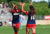 Boyds, MD - Saturday July 09, 2016: Francisca Ordega, Estefania Banini celebrates scoring during a regular season National Women's Soccer League (NWSL) match between the Washington Spirit and the Chicago Red Stars at Maureen Hendricks Field, Maryland SoccerPlex.