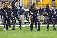 Pitt dance team members dance in the rain. The Youngstown St. Penguins defeated the Pittsburgh Panthers 31-17 on Saturday, September 1, 2012 at Heinz Field in Pittsburgh, PA.