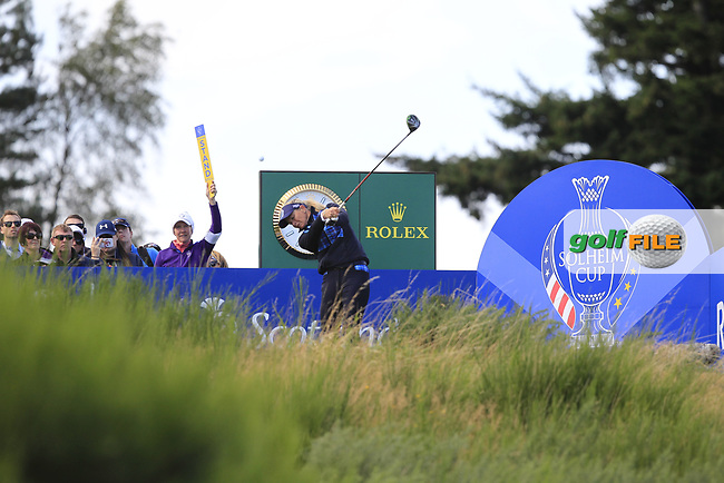 Suzann Pettersen Team Europe on the 8th tee during Day 1 Fourball at the Solheim Cup 2019, Gleneagles Golf CLub, Auchterarder, Perthshire, Scotland. 13/09/2019.<br /> Picture Thos Caffrey / Golffile.ie<br /> <br /> All photo usage must carry mandatory copyright credit (© Golffile | Thos Caffrey)