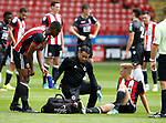 Harvey Gilmour of Sheffield Utd receives treatment during the Professional Development U23 match at Bramall Lane, Sheffield. Picture date 4th September 2017. Picture credit should read: Simon Bellis/Sportimage