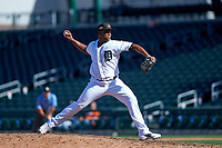 Mesa Solar Sox relief pitcher Gerson Moreno (72), of the Detroit Tigers organization, delivers a pitch to the plate during a game against the Surprise Saguaros on October 20, 2017 at Sloan Park in Mesa, Arizona. The Solar Sox walked-off the Saguaros 7-6.  (Zachary Lucy/Four Seam Images)