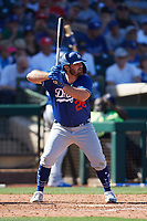 Tyler White (28) of the Los Angeles Dodgers at bat during a Cactus League Spring Training game against the Texas Rangers on March 8, 2020 at Surprise Stadium in Surprise, Arizona. Rangers defeated the Dodgers 9-8. (Tracy Proffitt/Four Seam Images)