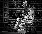 Good old guitar music played by one of the many street musicians in Austin Texas.