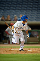 Dunedin Blue Jays left fielder Cal Stevenson (8) hits a single during a Florida State League game against the Clearwater Threshers on April 4, 2019 at Spectrum Field in Clearwater, Florida.  Dunedin defeated Clearwater 11-1.  (Mike Janes/Four Seam Images)