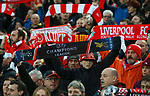 Liverpool fans hold their scarves up during the Champions League Semi Final 1st Leg match at Anfield Stadium, Liverpool. Picture date: 24th April 2018. Picture credit should read: Simon Bellis/Sportimage
