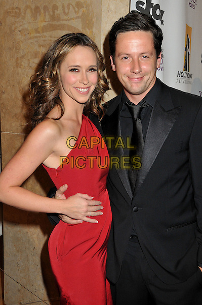 JENNIFER LOVE HEWITT & ROSS McCALL .12th Annual Hollywood Film Festival at the Beverly Hilton Hotel, Beverly Hills, California, USA..October 27th, 2008.half length red dress black suit jacket couple hand on hip  one shoulder .CAP/ADM/BP.©Byron Purvis/AdMedia/Capital Pictures.