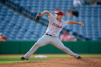 Florida Fire Frogs relief pitcher Tucker Davidson (11) delivers a pitch during a game against the Clearwater Threshers on June 1, 2018 at Spectrum Field in Clearwater, Florida.  Florida defeated Clearwater 12-10.  (Mike Janes/Four Seam Images)