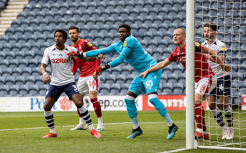 Preston North End's Scott Sinclair (left) is held at bay by Nottingham Forest's goalkeeper Brice Samba <br /> <br /> Photographer Andrew Kearns/CameraSport<br /> <br /> The EFL Sky Bet Championship - Preston North End v Nottingham Forest - Saturday 11th July 2020 - Deepdale Stadium - Preston <br /> <br /> World Copyright © 2020 CameraSport. All rights reserved. 43 Linden Ave. Countesthorpe. Leicester. England. LE8 5PG - Tel: +44 (0) 116 277 4147 - admin@camerasport.com - www.camerasport.com