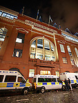 Police vans at the front door of Ibrox