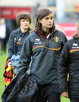 20140507 - LEUVEN , BELGIUM : Belgian Anaelle Wiard pictured during the female soccer match between Belgium and The Netherlands, on the eighth matchday in group 5 of the UEFA qualifying round to the FIFA Women World Cup in Canada 2015 at Stadion Den Dreef , Leuven . Wednesday 7th May 2014 .  PHOTO DAVID CATRY