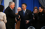 Nevada Gov. Steve Sisolak shakes hands with former Gov. Brian Sandoval at his inauguration at the Capitol, in Carson City, Nev., on Monday, Jan. 7, 2019. <br /> Photo by Cathleen Allison/Nevada Momentum