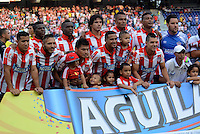 BARRANQUIILLA -COLOMBIA-08-02-2015. Jugadores del Atlético Junior posan para  una foto previo al encuentro con Once Caldas por la fecha 2 de la Liga Águila I 2015 jugado en el estadio Metropolitano Roberto Meléndez de la ciudad de Barranquilla./ Players of Atletico Junior pose to a photo prior the match against Once Caldas for the second  date of the Aguila League I 2015 played at Metropolitano Roberto Melendez stadium in Barranquilla city.  Photo: VizzorImage/Alfonso Cervantes/STR