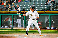 Quintin Berry (19) of the Salt Lake Bees at bat against the Memphis Redbirds in Pacific Coast League action at Smith's Ballpark on May 24, 2016 in Salt Lake City, Utah. The Bees defeated the Redbirds 7-5. (Stephen Smith/Four Seam Images)