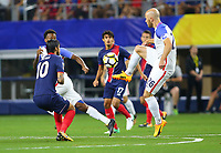 ARLINGTON, TEXAS - Saturday July 22, 2017 Michael Bradley #26  of the USMNT defends the ball from the Costa Rican National Team in the first have of the match at AT&T Stadium in Arlington, TX