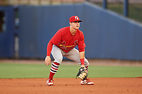 Palm Beach Cardinals second baseman Andy Young (15) during a game against the Charlotte Stone Crabs on April 21, 2018 at Charlotte Sports Park in Port Charlotte, Florida.  Charlotte defeated Palm Beach 5-2.  (Mike Janes/Four Seam Images)