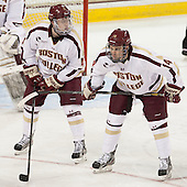 Teddy Doherty (BC - 4), Brooks Dyroff (BC - 14) - The Boston College Eagles defeated the University of Vermont Catamounts 4-1 on Friday, February 1, 2013, at Kelley Rink in Conte Forum in Chestnut Hill, Massachusetts.