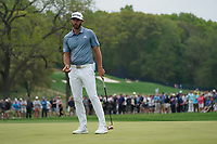 Dustin Johnson (USA) on the 16th green during the final round at the PGA Championship 2019, Beth Page Black, New York, USA. 20/05/2019.<br /> Picture Fran Caffrey / Golffile.ie<br /> <br /> All photo usage must carry mandatory copyright credit (© Golffile | Fran Caffrey)