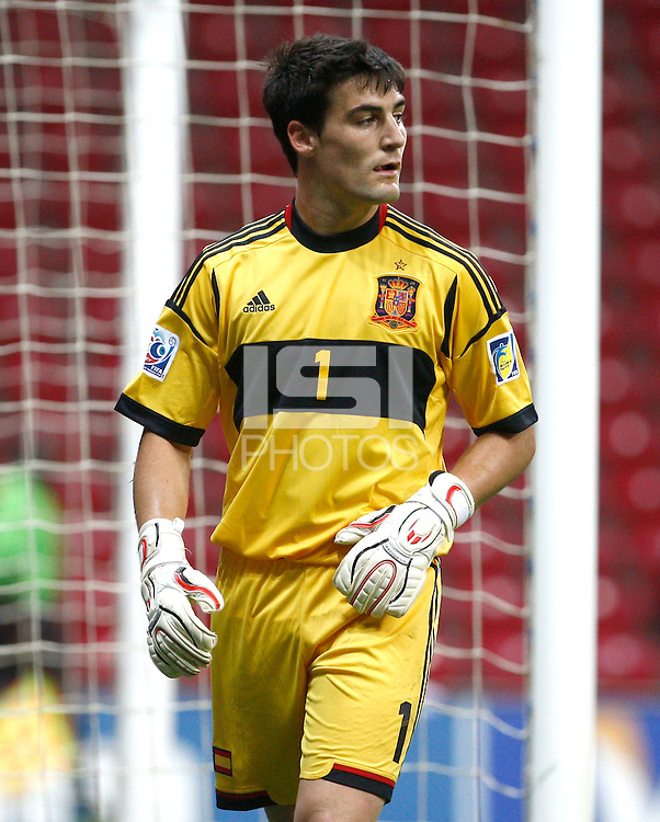 Spain U20's goalkeeper Daniel Sotres during their FIFA U-20 World Cup Turkey 2013 Group Stage Group A soccer match USA U20 betwen Spain at the Kadir Has stadium in Kayseri on June 21, 2013. Photo by Aykut Akici/isiphotos.com