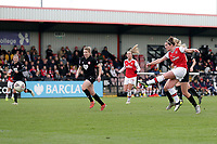 Emma Mitchell of Arsenal scores the eleventh goal for her team and celebrates during Arsenal Women vs Bristol City Women, Barclays FA Women's Super League Football at Meadow Park on 1st December 2019
