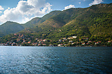 MONTENEGRO, Bay of Kotor, Coastal town on the Bay of Kotor from an auto ferry, Ben M Thomas