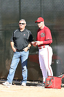 Kevin Towers (general manager - L), Kirk Gibson, manager - R), Arizona Diamondbacks 2011 spring training workouts at the Diamondbacks new training complex at Salt River Fields at Talking Stick, Scottsdale, AZ - 02/14/2011.Photo by:  Bill Mitchell/Four Seam Images.