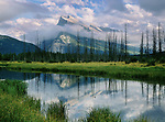 Vermillion Lake reflection and Mt. Rundle, Banff National Park, Alberta, Canada