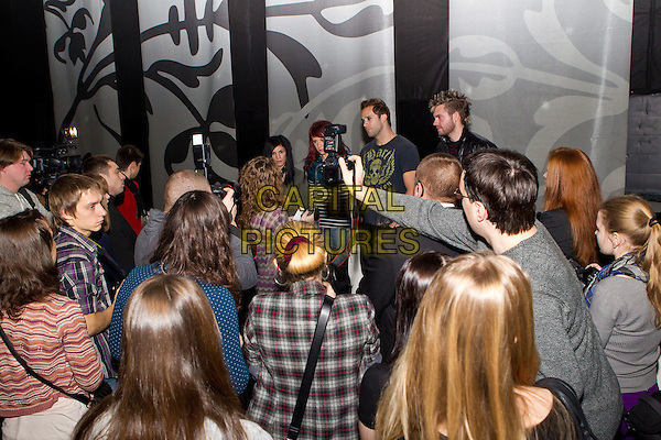 Skillet - Korey Cooper, Jen Ledger, John Cooper & Seth Morrison.Attend a press conference at Milk, Moscow, Russia, 26th November 2011..music band half length band group fans crowd  cameras .CAP/PER/SB.©SB/PersonaStars/Capital Pictures.