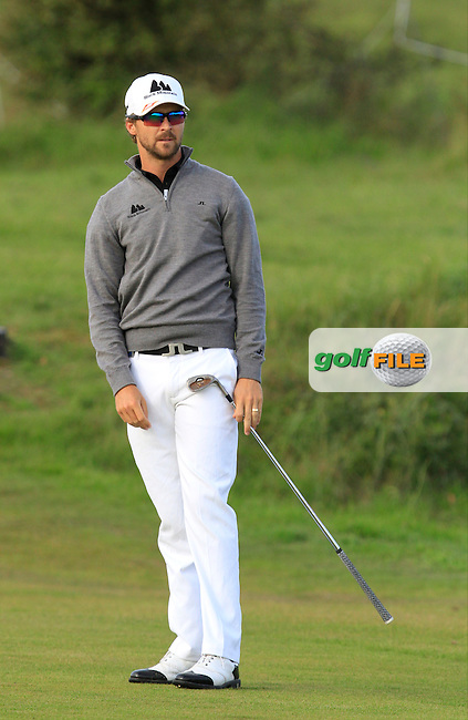 Rikard Karlberg (SWE) on the 2nd fairway during Round 4 of the 2015 KLM Open at the Kennemer Golf &amp; Country Club in The Netherlands on 13/09/15.<br /> Picture: Thos Caffrey | Golffile