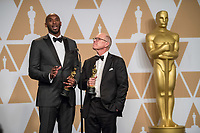 Glen Keane and Kobe Bryant pose backstage with the Oscar&reg; for best animated short film for work on &ldquo;Dear Basketball&rdquo; during the live ABC Telecast of The 90th Oscars&reg; at the Dolby&reg; Theatre in Hollywood, CA on Sunday, March 4, 2018.<br /> *Editorial Use Only*<br /> CAP/PLF/AMPAS<br /> Supplied by Capital Pictures