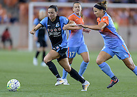 Vanessa DiBernardo (10) of the Chicago Red Stars and Amber Brooks (12) of the Houston Dash race for a loose ball in the second half on Saturday, April 16, 2016 at BBVA Compass Stadium in Houston Texas.