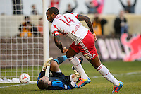 Thierry Henry (14) of the New York Red Bulls celebrates scoring during the second half against the Colorado Rapids. The New York Red Bulls and the Colorado Rapids played to a 1-1 tie during a Major League Soccer (MLS) match at Red Bull Arena in Harrison, NJ, on March 15, 2014.