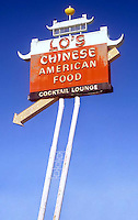 Lo's Chinese American Food Restaurant sign on old Route 66 in Kingman, AZ