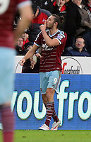 Pictured: Andy Carroll of West Ham celebrating his opening goal Saturday 10 January 2015<br />