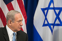 """Prime Minister of Israel Benjamin Netanyahu looks on as he meets with United States President Barack Obama during a bilateral meeting at the Lotte New York Palace Hotel, September 21, 2016 in New York City. Last week, Israel and the United States agreed to a $38 billion, 10-year aid package for Israel. Obama is expected to discuss the need for a """"two-state solution"""" for the Israeli-Palestinian conflict. Photo Credit: Drew Angerer/CNP/AdMedia"""