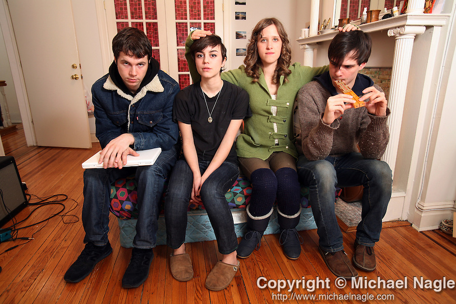 BROOKLYN - JANUARY 29, 2008:  Dirty Projectors-- <L to R> Brian McOmber, Angel Deradoorian, Amber Coffman, and Dave Longstreth-- at home in Bed-Stuy on January 29, 2008 in Brooklyn. (PHOTOGRAPH BY MICHAEL NAGLE)