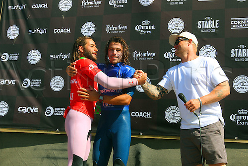 14.08.2016. Newquay, England. Board Masters Surfing Competition Sunday.  Edouard  Delpero FRA right wins the Boardmasters Longboard Championship ahead of Emilien Fleury FRA