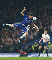 Chelsea's Olivier Giroud and Tottenham Hotspur's Moussa Sissoko<br /> <br /> Photographer Rob Newell/CameraSport<br /> <br /> The Carabao Cup Semi-Final Second Leg - Chelsea v Tottenham Hotspur - Thursday 24th January 2019 - Stamford Bridge - London<br />  <br /> World Copyright © 2018 CameraSport. All rights reserved. 43 Linden Ave. Countesthorpe. Leicester. England. LE8 5PG - Tel: +44 (0) 116 277 4147 - admin@camerasport.com - www.camerasport.com