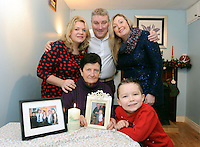 FARMING FEATURE ON FARM ACCIDENTS CHRISTMAS FEATURE: The Philpott family, Sheila, Majella and Antoinette with Gary and David Collins and a photo of Dan Philpott who was killed in a farm accident three years ago.  The family have set up a group called 'Embrace Farm', where F.A.R.M. statnds for , Farming Accidents Remembered, Missed.<br /> Picture by Don MacMonagle