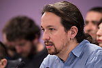 Pablo Iglesias during PODEMOS press conference after meeting with autonomy general and organizational secretaries sat Real Palace in Madrid March 17,2016. (ALTERPHOTOS/Borja B.Hojas)