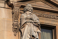 Statue of Jules Mazarin, 1602-1661, statesman, holding the Treaty of the Pyrenees, by Pierre Hebert, at the Turgot Wing, in the Cour Napoleon at the Musee du Louvre, Paris, France. A series of 86 statues of famous men were placed in this courtyard 1853-57 under the architects Louis Visconti and Hector Lefuel. Picture by Manuel Cohen