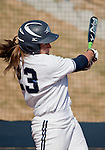 March 23, 2012:   Nevada Wolf Pack's centerfielder Sara Parsons knocks a double into center against the Fresno State Bulldogs during their NCAA softball game played at Christina M. Hixson Softball Park on Friday in Reno, Nevada.