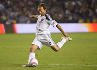 Eddie Lewis midfielder of the LA Galaxy sets up to send a ball over the middle. The Colorado Rapids defeated the LA Galaxy 3-1 at Home Depot Center stadium in Carson, California on Saturday October 16, 2010.